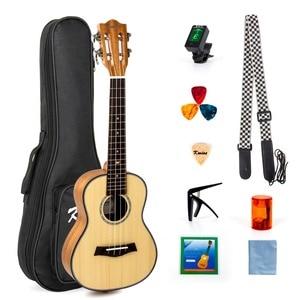 Image 1 - Kmise Ukelele de concierto con cabeza de guitarra clásica de abeto macizo, Kit para principiantes de 23 pulgadas, con bolsa Gig, sintonizador, correa, púas de cuerda