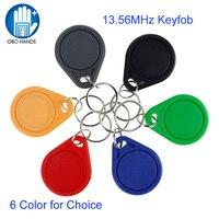 100 قطعة/الحقيبة 13.56 ميجا هرتز nfc علامة rfid رمز المفتاح الدائري ic بطاقة m1 s50 متوافق rfid keyfobs مختلفة اللون عالية جودة