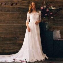 White Chiffon Scoop Half Sleeves Dress Lace Backless Vestidos De Noivas Custom Wedding Bridal