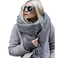 Brand Winter Fashion Solid Scarf Wool Blend Shawls Men Scarves Long Thickness Hot Handkerchief Soft  Luxury Pashmina Scarv