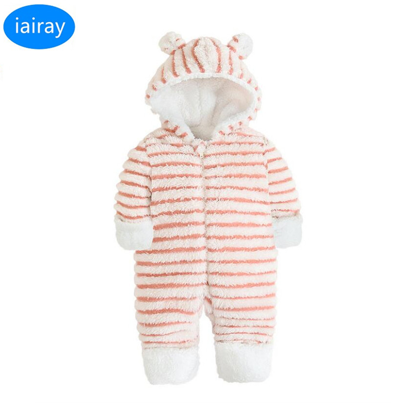 iairay baby girl romper pink plush jumpsuit striped hoodie infant long sleeve stripe snowsuit winter romper overalls for kids kids ruffle tie neck striped romper