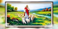 Needlework Jesus Sheep Diy Diamond Painting Cross Stitch Christian Round Drill Diamond Embroidery Cube Drilling Respect