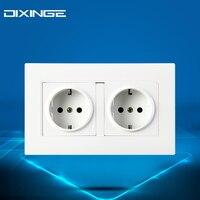 White Double German Standard Socket Panel Wall European Style German Socket Power Adapter A8 066