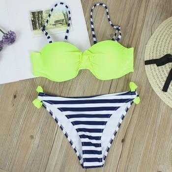 2018 Plus Size Bikini Set Bathing Suit Retro Bikinis Women Push Up Swimwear Striped Bottom Brazilian Biquini Beach Swimsuit XXL 2