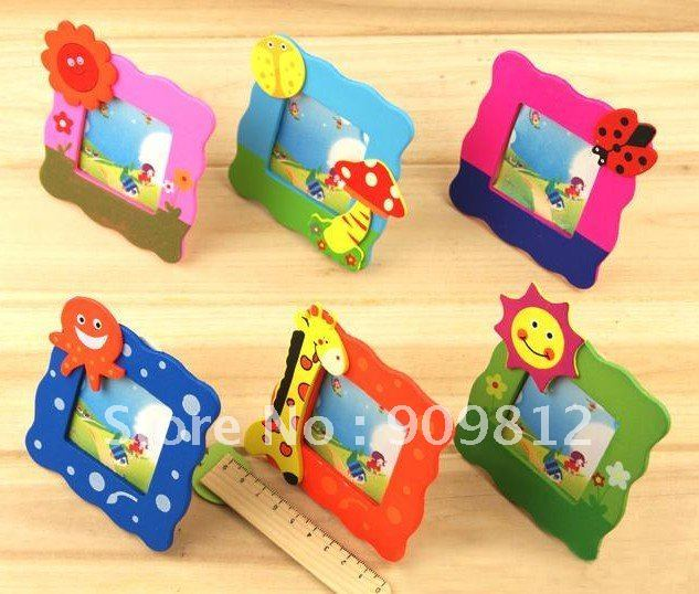 10pcs/lot Free Shipping Cartoon Wooden Small Photo Frame Without Magnet Cute Children Birthday Gift 6 color 18g
