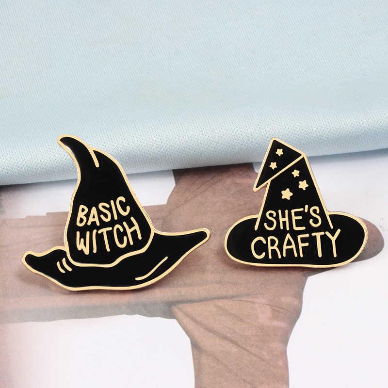 Penyihir Dalam Pelatihan Dasar Witch Topi Bros Hitam Enamel Jarum Perempuan Denim Jaket Kerah Kelapak Jarum Lencana Hadiah Perhiasan Modis