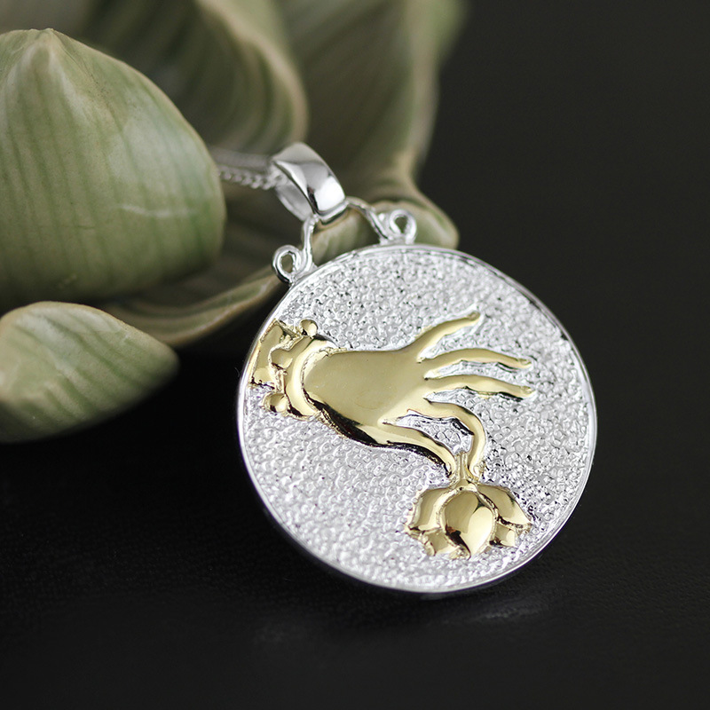 Buddhist series of bergamot hand holding lotus original silver color embossed gilt pendant two tone color hand made silver jewe