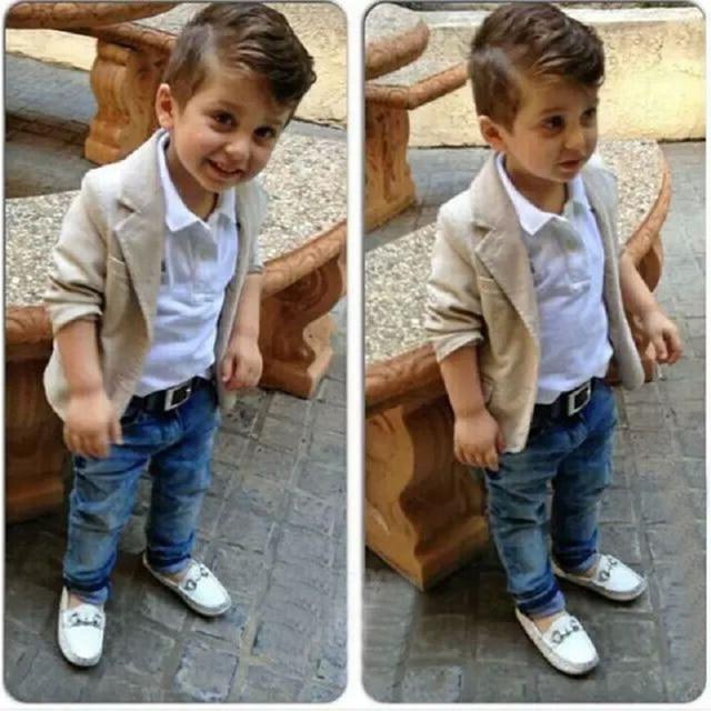 76d30a0fd Baby Boys Clothing Sets Fashion Gentleman boy clothes jacket + T-shirt + Jeans 3Pcs/Set 2 3 4 5 6 7 8 Years Children cssual sets
