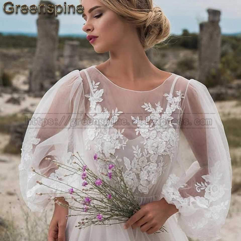 Boho Wedding Dress 2019 New Designer Sexy Women Beach Wedding Dresses Long Sleeve Vintage Lace Appliques Bridal Gown Custom Made