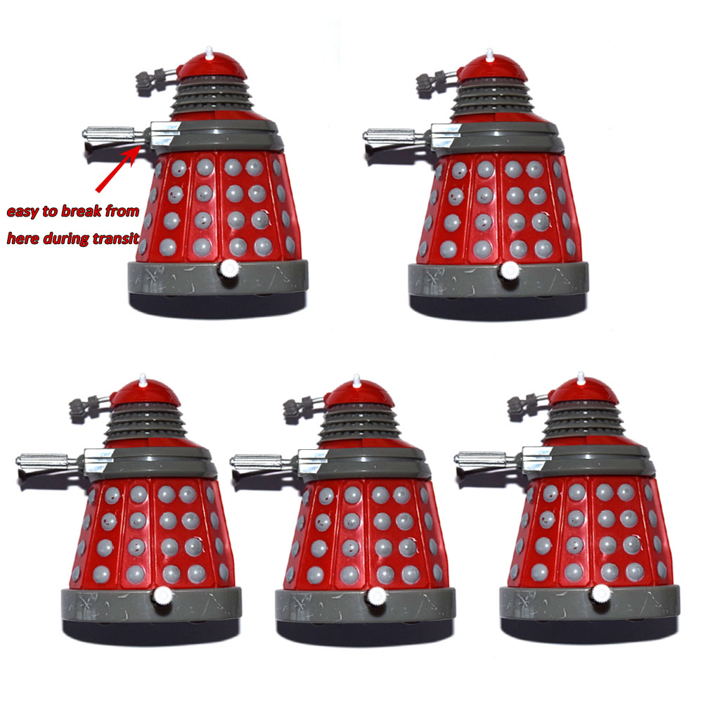 "Lot of 5 Dr. Doctor Who Red Wind Up Dalek 3"" Mini Loose Action FigureAction & Toy Figures   -"
