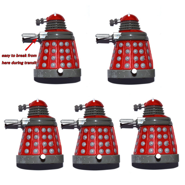 """Lot of 5 Dr. Doctor Who Red Wind Up Dalek 3"""" Mini Loose Action Figure"""