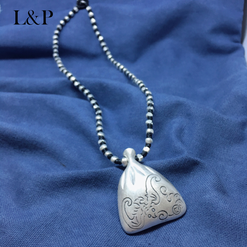 L&P Handmade Sterling Silver vintage Pendant necklace,Silver Chain necklace for girl Jewelry Yunnan handmade цена