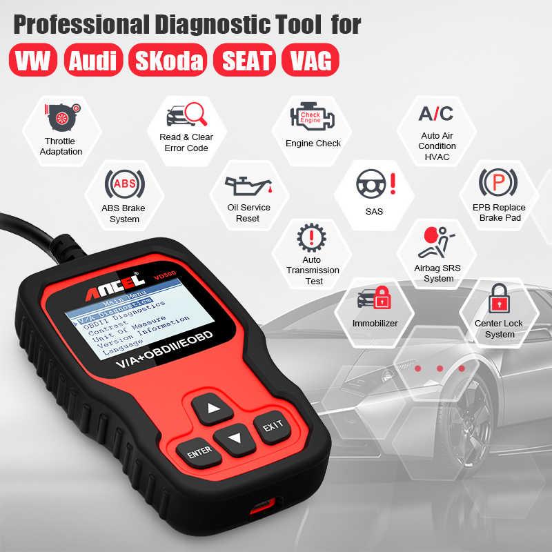 Ancel VD500 ABS SRS EPB Airbag RPB Oil Reset Throttle Adaptation OBD2 Fault  Code Reader Scanner for Audi VW OBD Diagnostic Tool