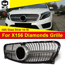 Diamonds Grille grill ABS Silver Without Sign X156 GLA180 GLA200 GLA250 GLA-Class For MercedesMB GLA45 Look Grills Mesh 2014-16