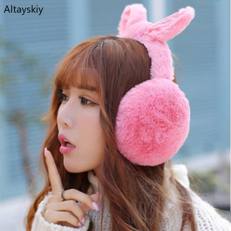 Earmuffs Women Winter Warm Rabbit Faux Fur Bow Soft Plush Solid Womens Ear Korean Style Kawaii All-match Trendy Earmuff Casual