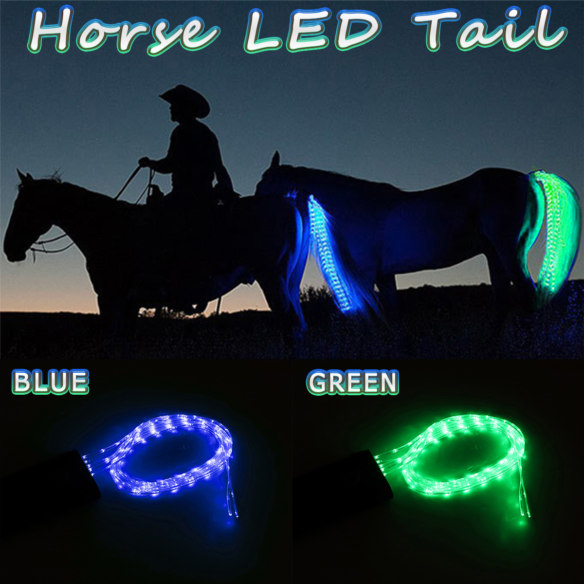 100CM Green Blue Horse Tail USB Lights Chargeable LED Crupper Horse Harness Equestrian Outdoor Sports The Lights Horse Tail