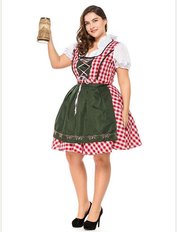 2pcSet Traditional Dirndl German Bavarian Beer Girl Costume Oktoberfest Festival Fancy Dress (2)