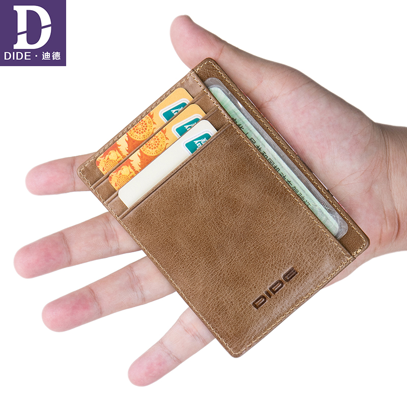 DIDE Unisex Genuine Leather Slim Card Holder ID Credit Wallet Men Brand Designer Vintage Organizer Mini Small Thin Purse Male цена