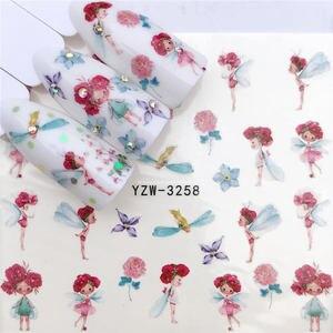 Image 5 - Fwc 1 Hoa Đen/Nhân Vật/Công Chúa Thiết Kế Chuyển Nước Miếng Dán Móng Nghệ Thuật Đề Can DIY Thời Trang Đeo Đầu dụng Cụ Làm Móng Tay