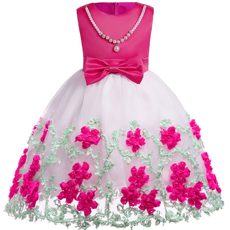 все цены на Flower Girl Dress 2017 New Girls Pearls Birthday Wedding Party Princess Dresses Kids White Tutu Mesh Costume Children Clothes онлайн