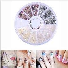 1box Mixed Round Nail Art Decoration in Wheel Rhinestones for Acrylic UV Gel Shinning Body Accessories