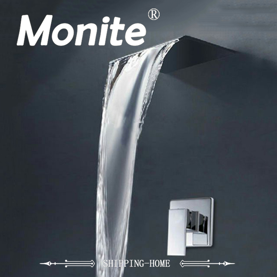 Waterfall Shower Faucet Chrome Finish Modern Wall Mounted Shower Set Bathroom Shower sets