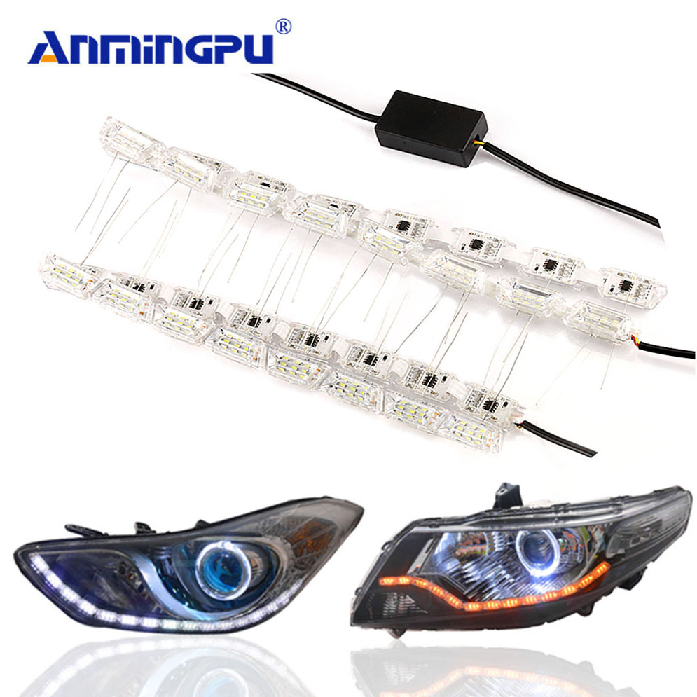 ANMINGPU 2pcs Turn Signal Flexible Led Drl White Amber 12V Drl Led Daytime Running Light Daylight Lamp Day Light for Ford Focus okeen 2pcs daytime running light for honda grace city 2014 2015 2016 drl white driving lamp amber turn signal light fog lamp 12v