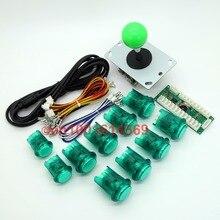 LED Reyann Arcade Game Cabinet Kit Zero Parts USB Encoder + 1 X Joystick + 10 X Lighted Push Button for Mame & Jamma-Green