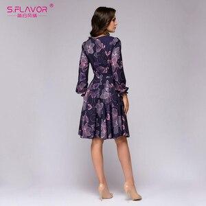 Image 5 - S. FLAVOR kobiety drukowanie sukienka trapezowa elegancki fioletowy kolor z długim rękawem krótka sukienka nowa wiosna lato 2020 vintage vestidos