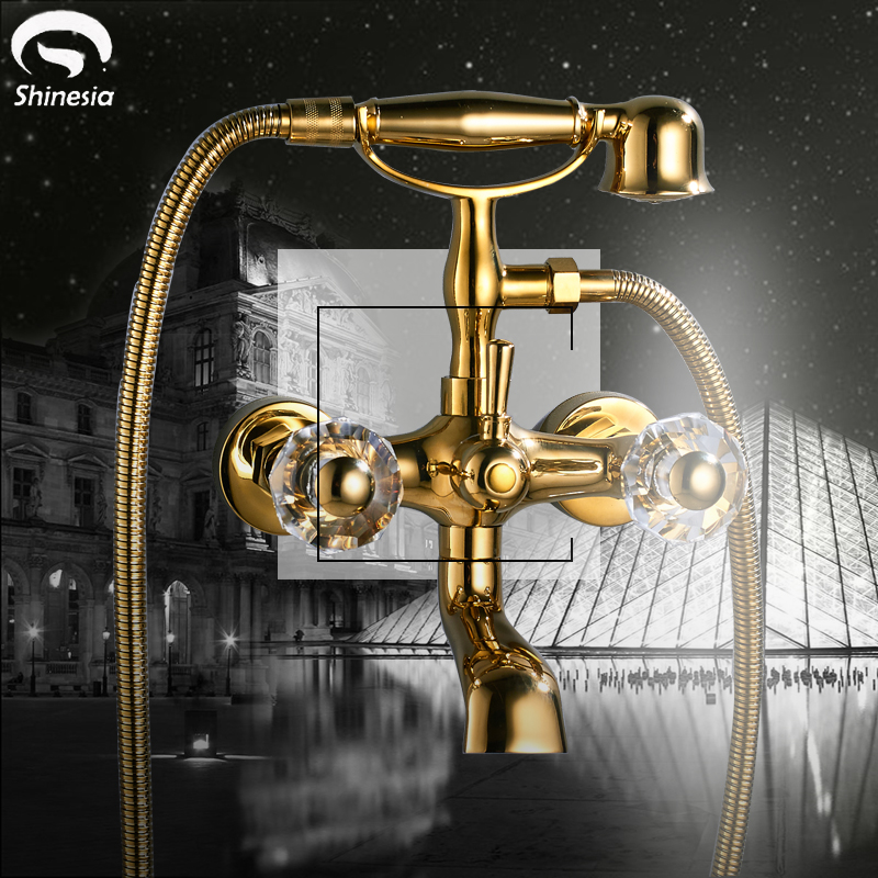 Luxury Gold Polish Wall Mount Telephone Style Euro Bath Tub Faucet Mixer Tap With Dual Handles Spray Shower Swivel Spout luxury wall mount telephone style bathtub shower faucet with handheld shower tub mixer tap