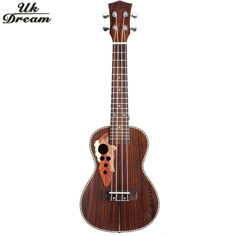21 Polegada ukulele rosewood mini guitarra acústica instrumento musical soprano ukelele com ligação aquila corda hawaii guitarra