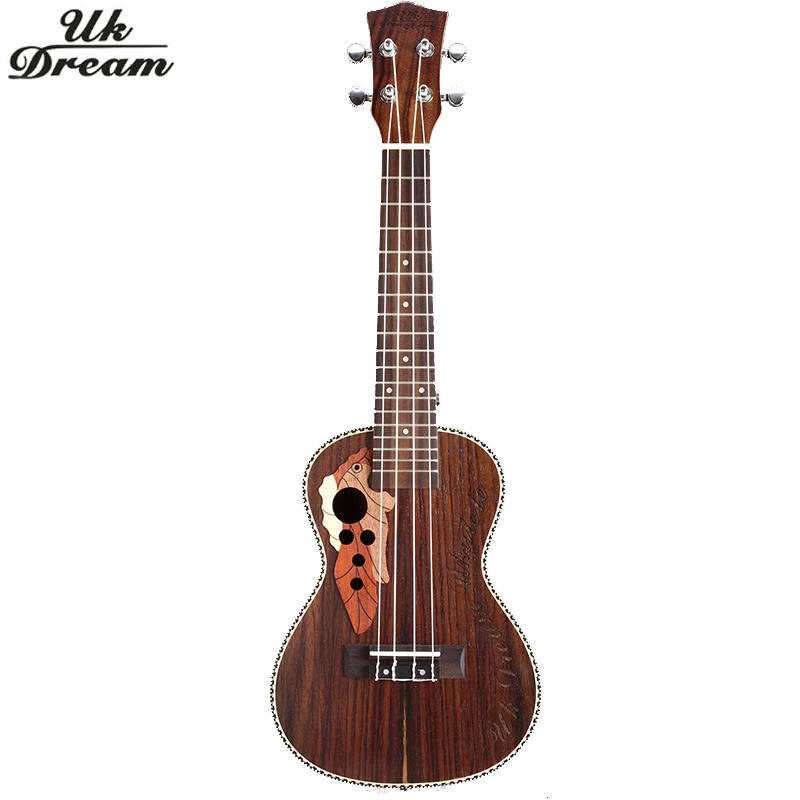 ФОТО 21 Inch Ukulele Rosewood Mini Acoustic Guitar Musical Instrument Soprano Ukelele With Binding Aquila String Hawaii Guitarra