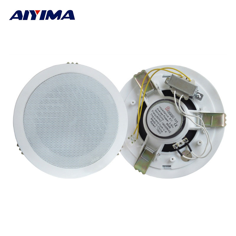 AIYIMA 1Pcs Audio Portable Speaker Ultra-thin 3-6W Constant Pressure Ceiling Speakers With Pure Copper Transformer