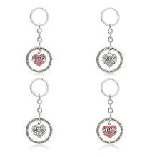 Grandma Aunt Glitter Rhinestone Heart Keychain Rings