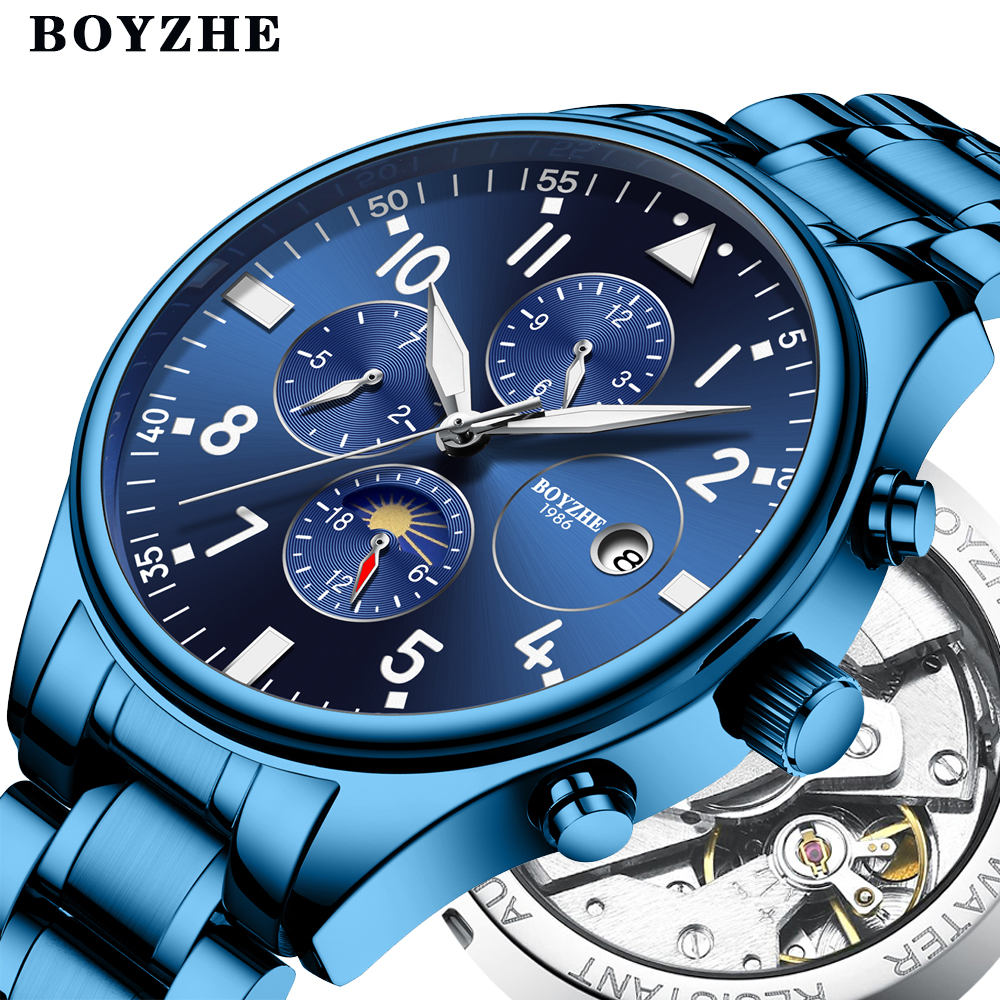 BOYZHE Mens Automatic Mechanical Watches Luxury Brands Casual Stainless Steel Moon Phase Sports Business Watch Relogio MasculinoBOYZHE Mens Automatic Mechanical Watches Luxury Brands Casual Stainless Steel Moon Phase Sports Business Watch Relogio Masculino