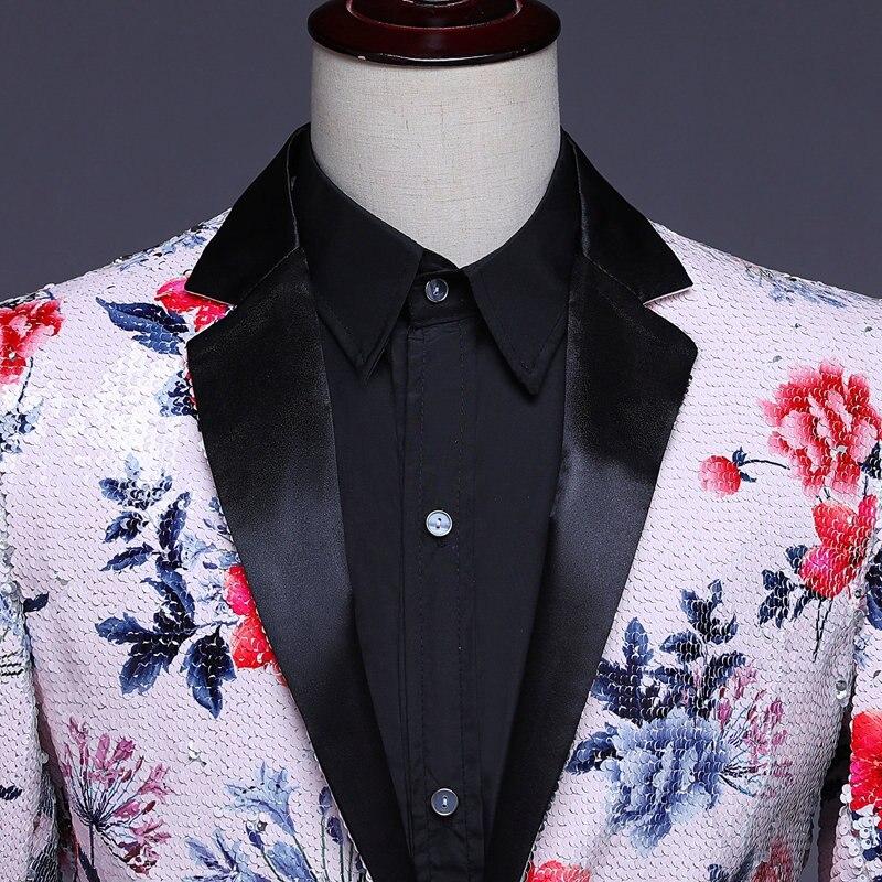 Herren Pailletten Blazer Masculino Verziert Blazer Hombre Blazer Homme Glitter Jacke Männer Floral Anzug Jacke - 4
