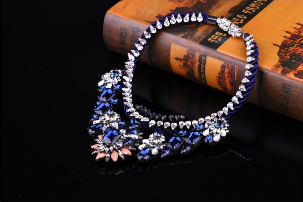 2018 Baroque necklace new Luxury Beautiful Blue Noble Muiti-Layer Shourouk Collar Necklace 797