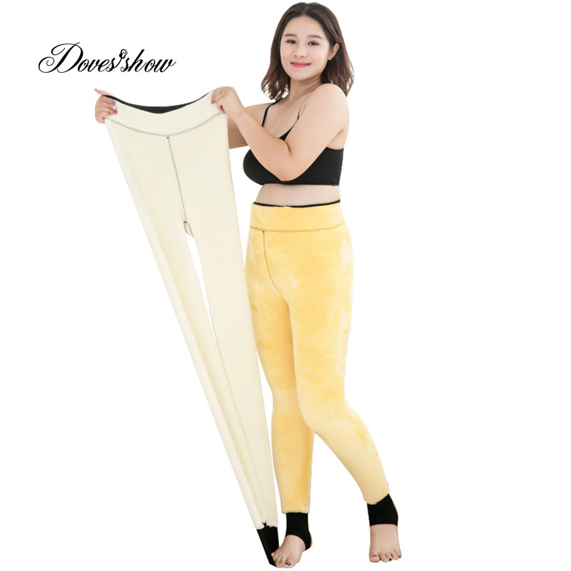 Super Elastic High Waist Women Thicken Winter Warm Fur   Leggings   Plus Size Velvet jeggings Bodycon Pencil Pants Ankle Length 900g