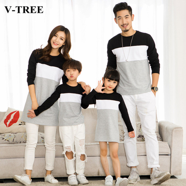 283818b6 V-TREE Family Matching Outfits Mother Daughter Dresses Father Son Matching  Clothes T-shirt Family Look