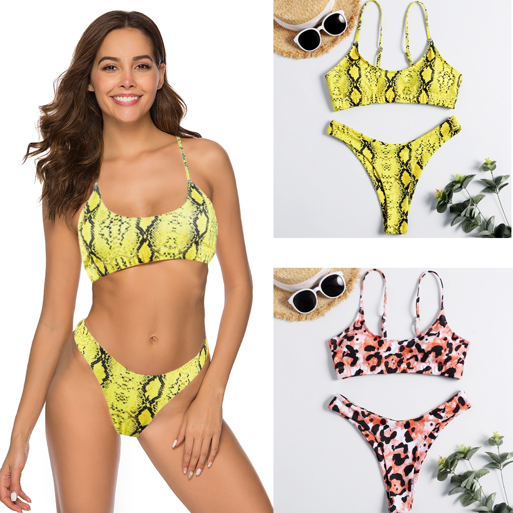 a40da8f370db 6 colores Sexy leopardo 2019 Bikini mujeres traje de baño femenino de dos  piezas Bikini conjunto ...