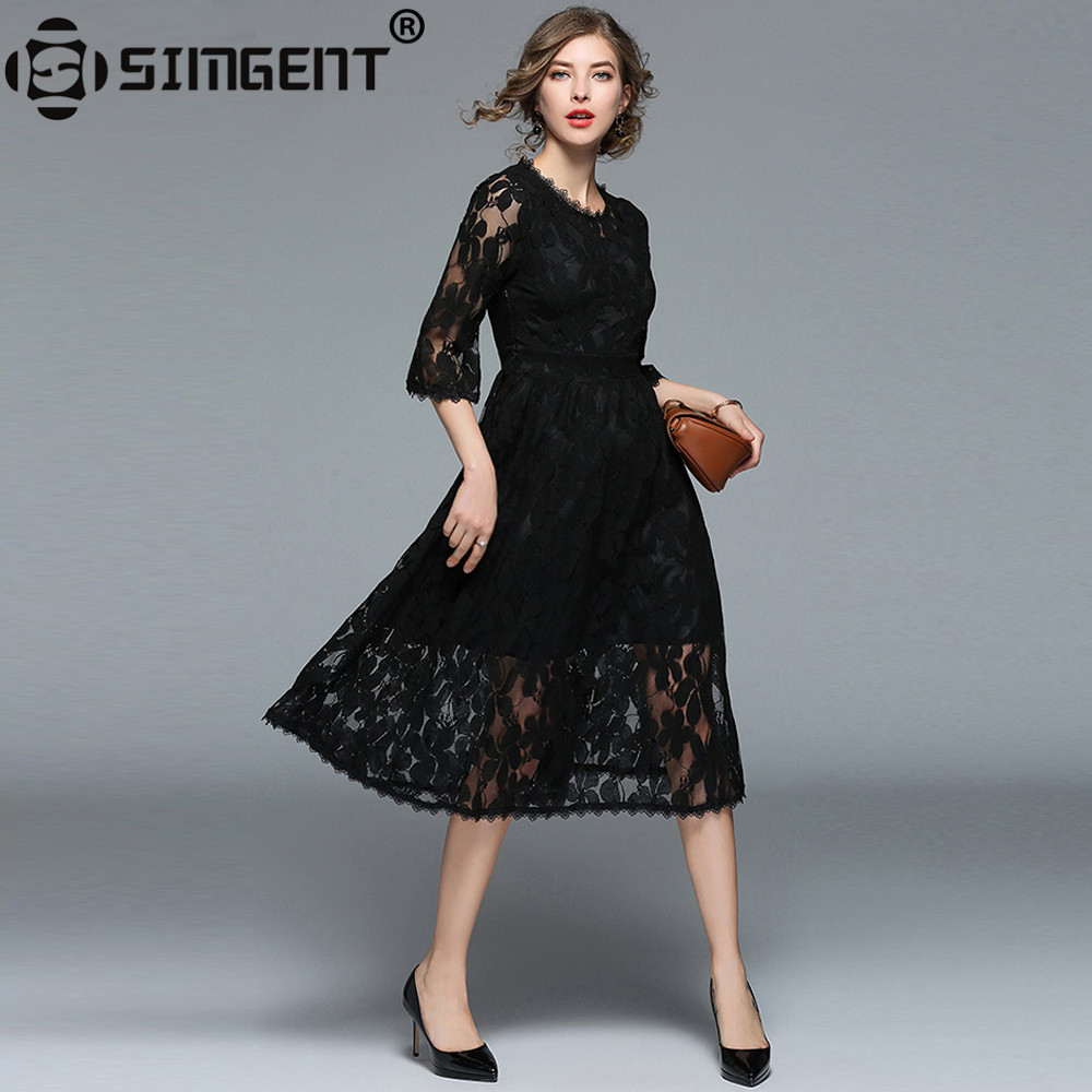Simgent Black Lace Dress Flare Sleeves Leaves Lace Women Fashion ...