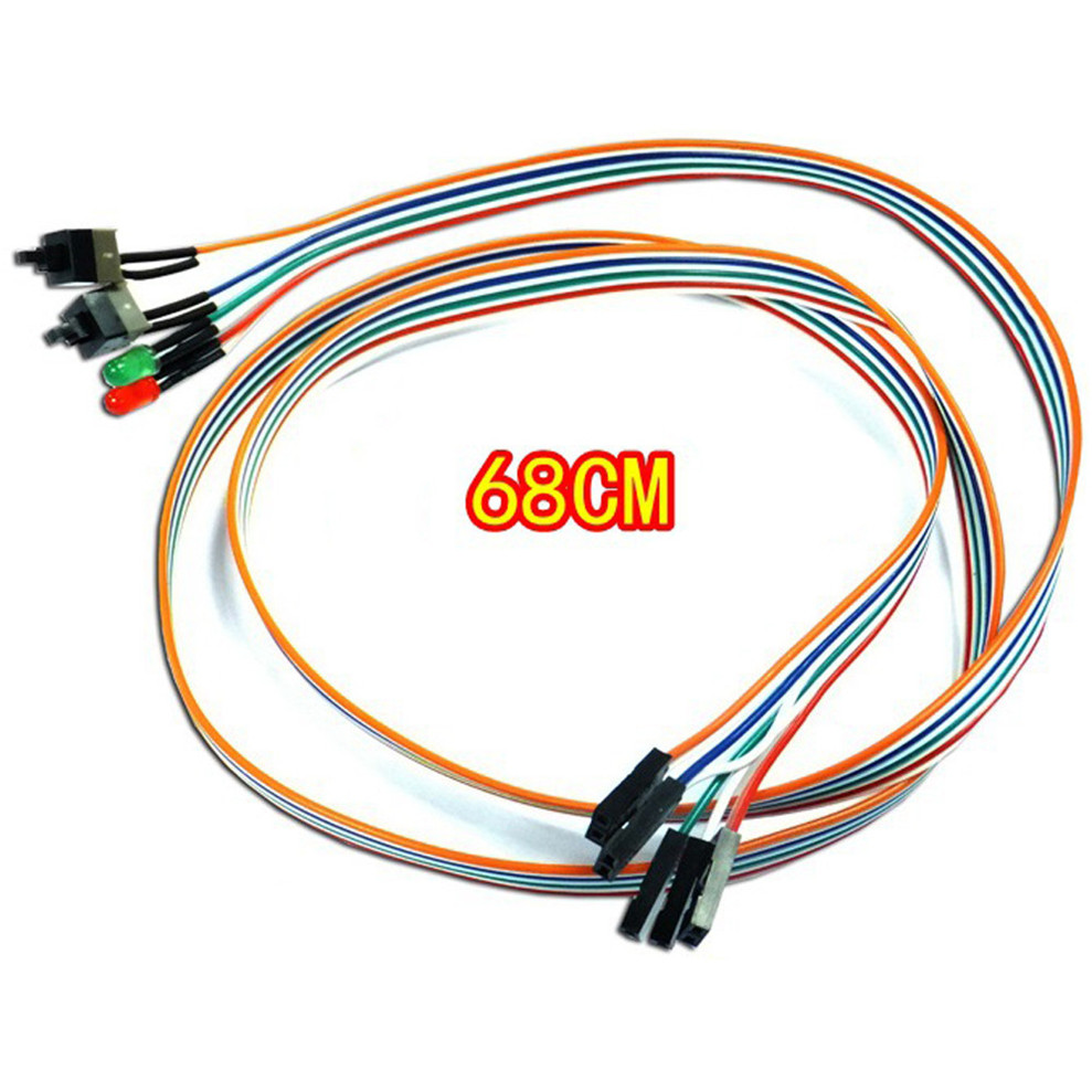 Dropshipping Reliable ATX PC Computer Motherboard Power Cable 2 Switch On/Off/Reset with LED Light 68CM carprie new replacement atx motherboard switch on off reset power cable for pc computer 17aug23 dropshipping