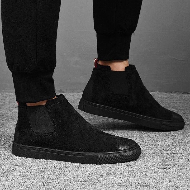 Men Shoes Vintage Chelsea Boots Cow Suede Leather Men s Sneakers Winter Shoes Warm Luxury Mens