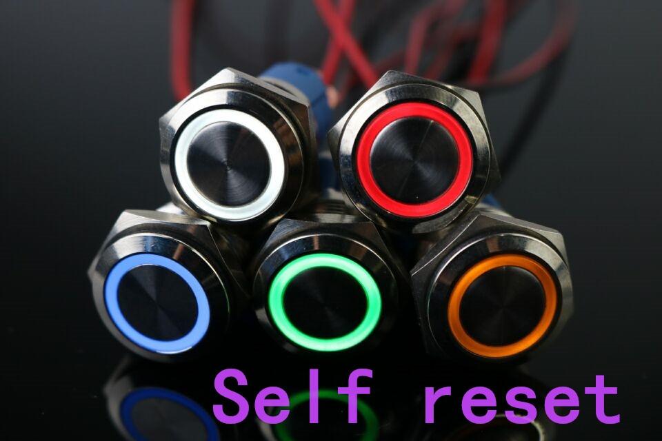 100 pièces 16mm métal momentané bouton-poussoir interrupteur LED 5 V 12 V 24 V 110 V 220 V en acier inoxydable étanche voiture Auto moteur PC