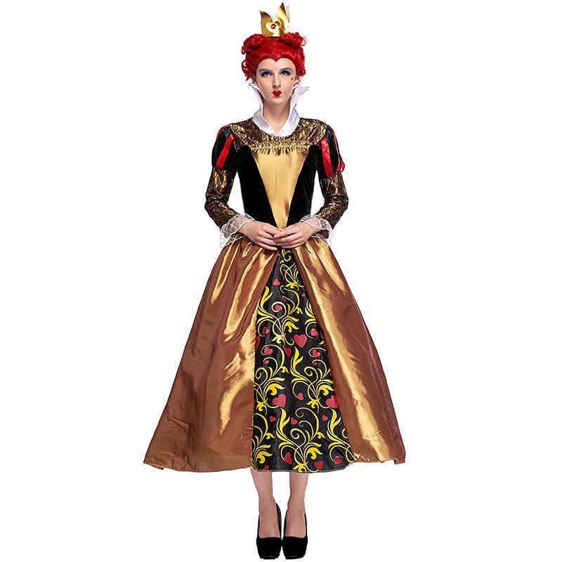 Взрослый женский красный королева Алиса в стране чудес тематические Хэллоуин