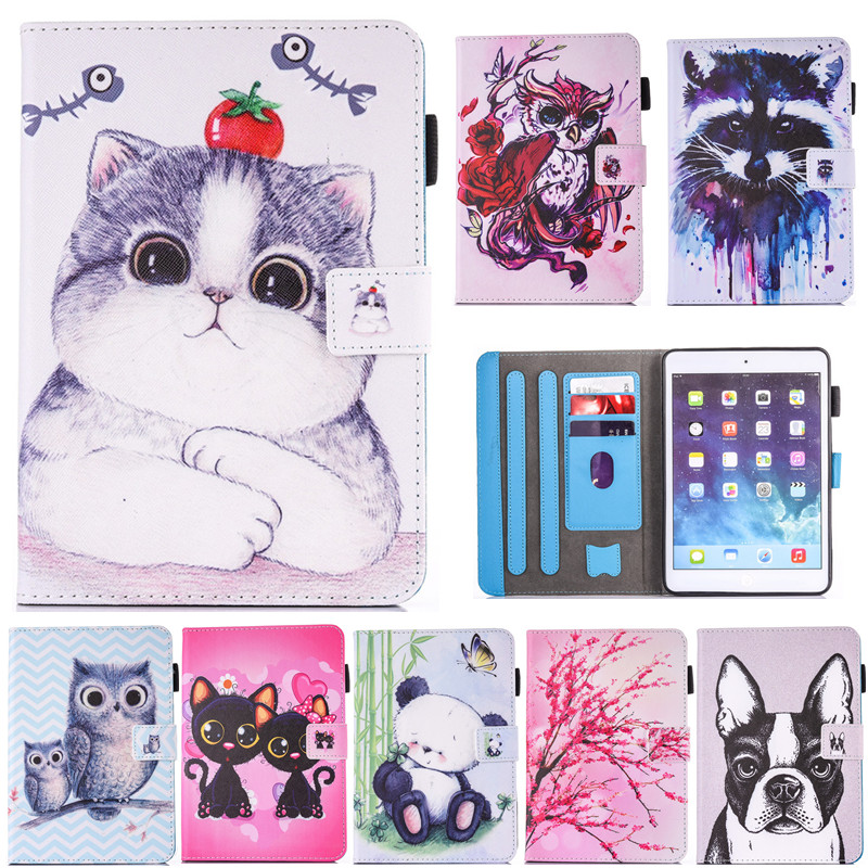 Cartoon Animal Cat Owl Dog Panda PU Leather Flip Case for Apple iPad air 2 iPad 6 9.7