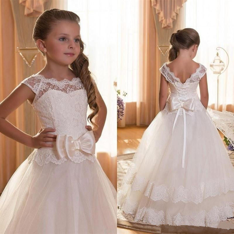 Modest   Flower     Girl     Dresses   Long 2019 Applique Lace primera comunion   Dress   For Wedding Party   Girls   robe mariage fille