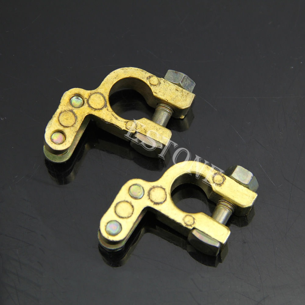 2Pcs New Auto Car Replacement Battery Terminal Clamp Clips Brass Connector HotFreeshipping -Y103 promotion battery terminal clamp clips connector car truck auto vehicle parts brass battery switch 5