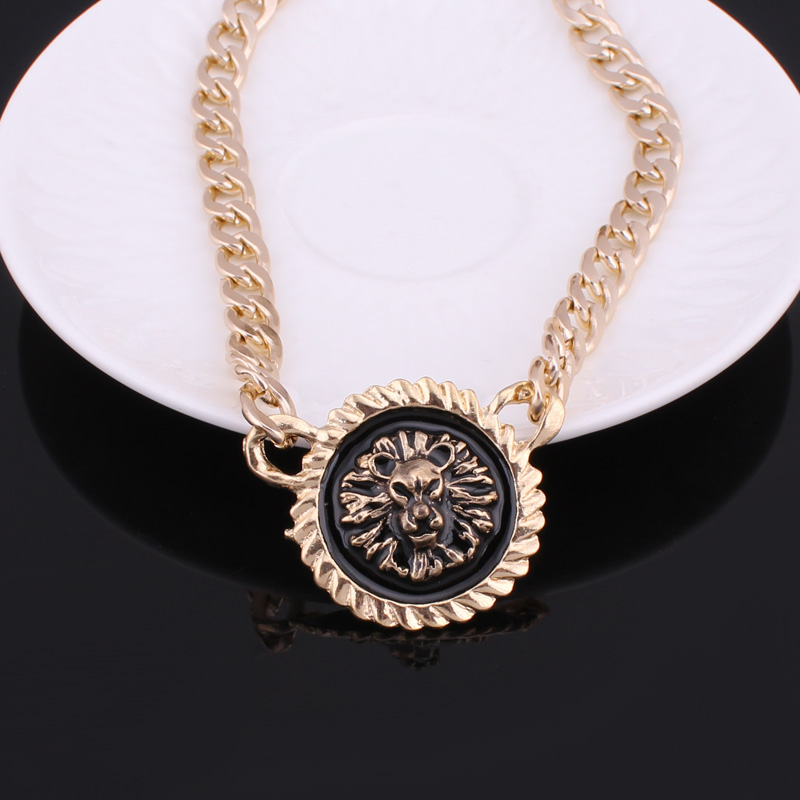 9e2743e3d9c3dd Seblasy Punk Bohemian Gold Sliver Color Chunky Chain Lion Head Necklaces &  Pendants for Women Men Jewelry Gifts-in Pendant Necklaces from Jewelry ...