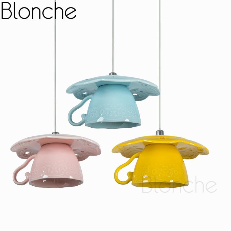 Modern Ceramics Pendant Lights Mini Led Teapot Hanging Lamp For Dining Room Kitchen Home Decor Lighting Art Suspension Fixtures